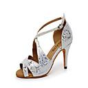 Može se prilagoditi - Ženske - Plesne cipele - Latin / Balska sala - Vještačka koža - Prilagođeno Heel - srebro