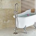 現代風 / アールデコ調/レトロ風 / 近代の バスタブとシャワー ワイドspary / ハンドシャワーは含まれている / 床置き / 引出式スプレー with  セラミックバルブ 二つのハンドル二つの穴 for  ブラッシュドニッケル , シャワー水栓 / 浴槽用水栓 /