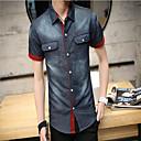男性用 プレイン カジュアル / オフィス シャツ,半袖 コットン ブルー