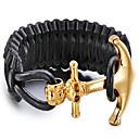 男性用 ブレスレット レザーブレスレット ステンレス鋼 レザー ゴールドメッキ パンクスタイル 幾何学形 ブラック ジュエリー 1個