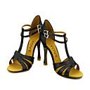 Može se prilagoditi - Ženske - Plesne cipele - Latin / Balska sala - Vještačka koža / Šljokice - Prilagođeno Heel - Crn / Zlato