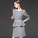 Vintage Korice Haljina,Geometrijski oblici Dugih rukava Okrugli izrez Iznad koljena Crna Umjetna svila / Poliester Proljeće / Ljeto