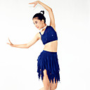 Žene / Dječji-Outfits- zaLatin Dance(Tamno plava,Spandex / Polyester / Šljokičasti,Paillettes / Cvijet (i) / Šljokice)