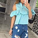 Majica Žene,Slatko Ležerno/za svaki dan Jednobojni-Dugih rukava Padajući izrez-Sva godišnja doba Plava / Ružičasta / Zelena / Žuta Srednje