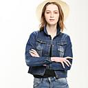 Farmerkabátok Žene,Jednostavno Ležerno/za svaki dan Jednobojni-Dugih rukava Zima Plava Pamuk / Poliester