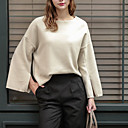 Women's Going out / Casual/Daily Sexy / Simple / Cute T-shirt,Solid Round Neck Long Sleeve White Cotton / Polyester