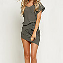 Women's Casual/Daily Sexy Swing Dress,Solid Round Neck Above Knee Short Sleeve Gray Cotton Fall / Winter Mid Rise Micro-elastic Medium