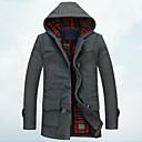 Muži Jednobarevné Velké velikosti Jednoduché Kabát-Bavlna / Polyester Zima Kapuce Dlouhý rukáv Černá / Šedá Tlusté
