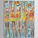 Ručno oslikana Sažetak / Ljudi ulja na platnu,Moderna / Klasika Jedna ploha Platno Hang oslikana uljanim bojama For Početna Dekoracija