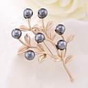 韓国女性合金葉の真珠中空ブローチ