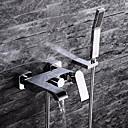 Současné Nástěnná montáž Včetne sprchové hlavice with  Keramický ventil Single Handle tři otvory for  Pochromovaný , Vanová baterie