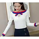 Dámské Jednoduché Běžné/Denní Standardní Kardigan Jednobarevné,Bílá / Žlutá Dlouhý rukáv Úzký výstřih Akryl Zima Střední Lehce elastické