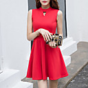 Women's Going out Casual/Daily Street chic A Line Skater Dress Solid Round Neck Above Knee Sleeveless Red Black Summer