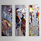 手描きの 抽象画 3枚 キャンバス ハング塗装油絵 For ホームデコレーション