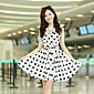 JINGUO Ženska Sweet Round Collar Polka Dots Waist Sleevless Dress (White)