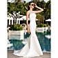Lanting Bride® Trumpet / Mermaid Petite / Plus Sizes Wedding Dress Simply Sublime Sweep / Brush Train Scoop Satin / Tulle with
