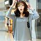Majica s rukavima Ženski,Jednostavno / Ulični šik Ležerno/za svaki dan Na točkice-Dugih rukava Okrugli izrez-Proljeće / Jesen Crna / Siva