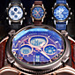 Pánské Náramkové hodinky Křemenný LCD / Chronograf / Voděodolné / Hodinky s dvojitým časem / poplach Kůže Kapela Černá / Modrá / Hnědá