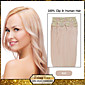 """Clip In Human Hair Extensions 20""""-24"""" White Blonde(#60) 8pcs/set"""
