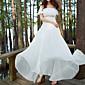 Dámské Jednoduché Běžné/Denní Pouzdro Šaty Jednobarevné,Krátký rukáv Úzký výstřih Maxi Bílá Bavlna Podzim High Rise Neelastické