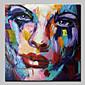 Ručno oslikana Sažetak / Ljudi / Apstraktni portreti ulja na platnu,Moderna Jedna ploha Platno Hang oslikana uljanim bojama For Početna