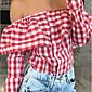 Dámské Pléd Běžné/Denní Sexy Košile-Všechna období Bavlna Klasické klopy Dlouhý rukáv Modrá / Růžová / Červená / Bílá Střední