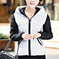 Women's Regular Padded Coat,Simple Casual/Daily Polka Dot-Polyester Cotton Long Sleeve Hooded Red / Black / Green