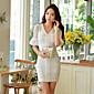 婦人向け Vネック ジッパー ドレス , スパンデックス/ポリエステル 膝上 半袖