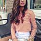 Majica Žene,Jednostavno Izlasci Jednobojni-Dugih rukava Asimetričan-Jesen Smeđa Umjetna svila