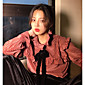 本当に2017新しいレトロ裁判所のスタイルを作ることはベルベットの弓のストライプのシャツの女性をフラウンス付き