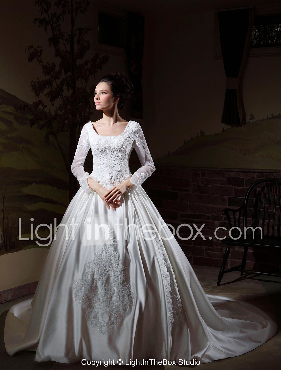 Ball Gown Long Sleeves Cathedral Train Luxury Wedding Dress With Beaded Appliques WSM p luxury wedding dresses LAN TING BRIDE Ball Gown Wedding Dress Classic Timeless Elegant Luxurious Vintage Inspired Cathedral Train Square Satin with 99
