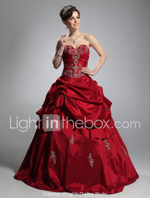 Ball Gown Strapless Sweetheart Floor Length Taffeta Prom Dress ...